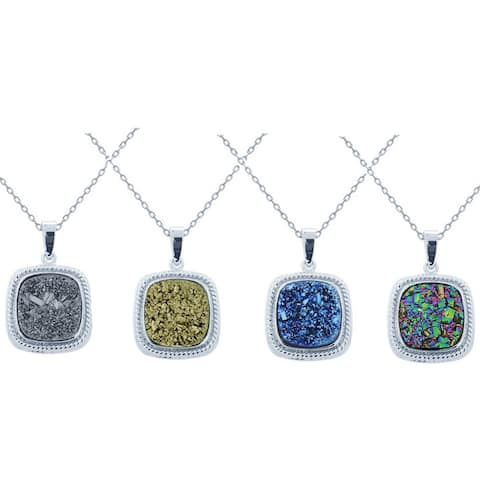 Glitzy Rocks Sterling Silver and Druzy Square Necklace