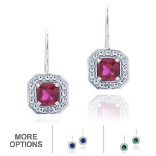Glitzy Rocks Silver, Created Gemstones and Diamond Accent Dangle Earrings