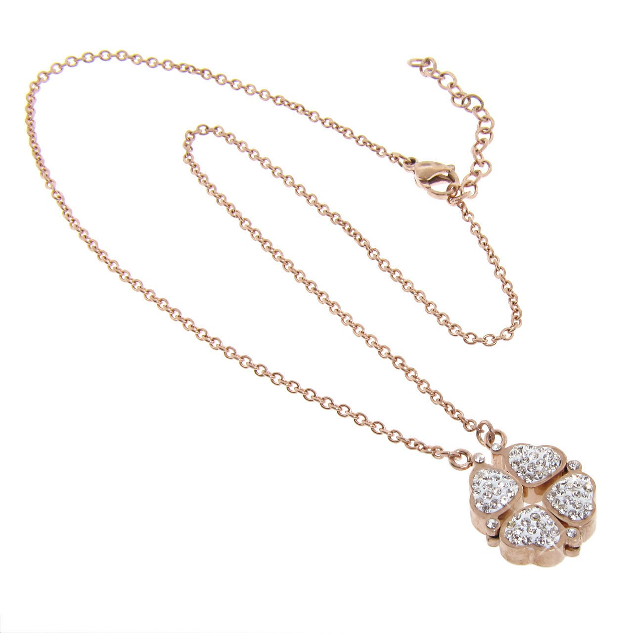 Eternally Haute Heart to Heart Stainless Steel Rose Goldtone Necklace