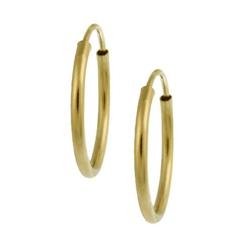 Mondevio 14-karat Yellow-gold High-polish Endless Hoop Earrings (0.75mm)