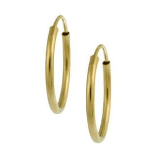 Mondevio 14-karat Yellow-gold High-polish Endless Hoop Earrings (0.75mm)