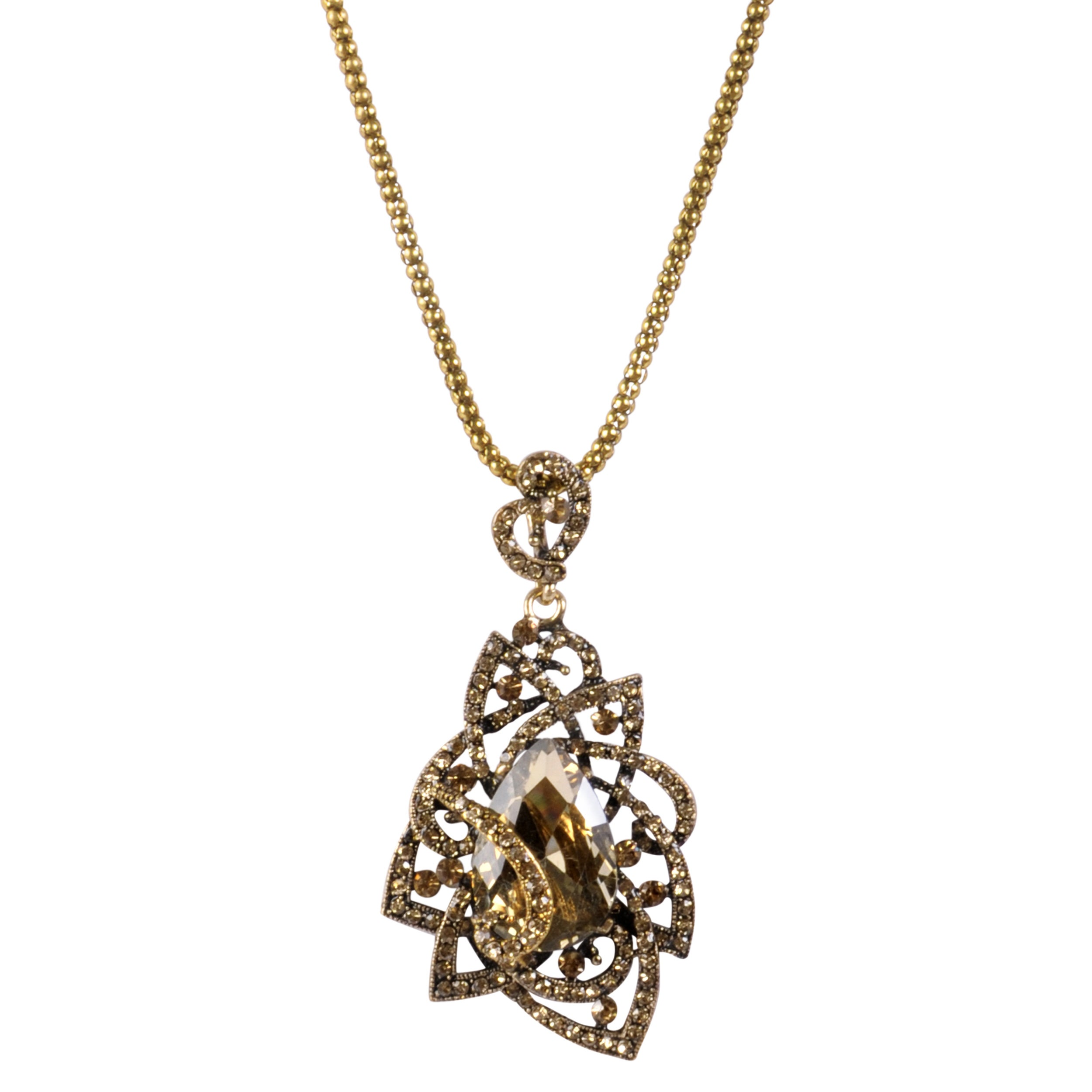 Journee Collection Goldtone Base Metal Glass Stone Statement Necklace