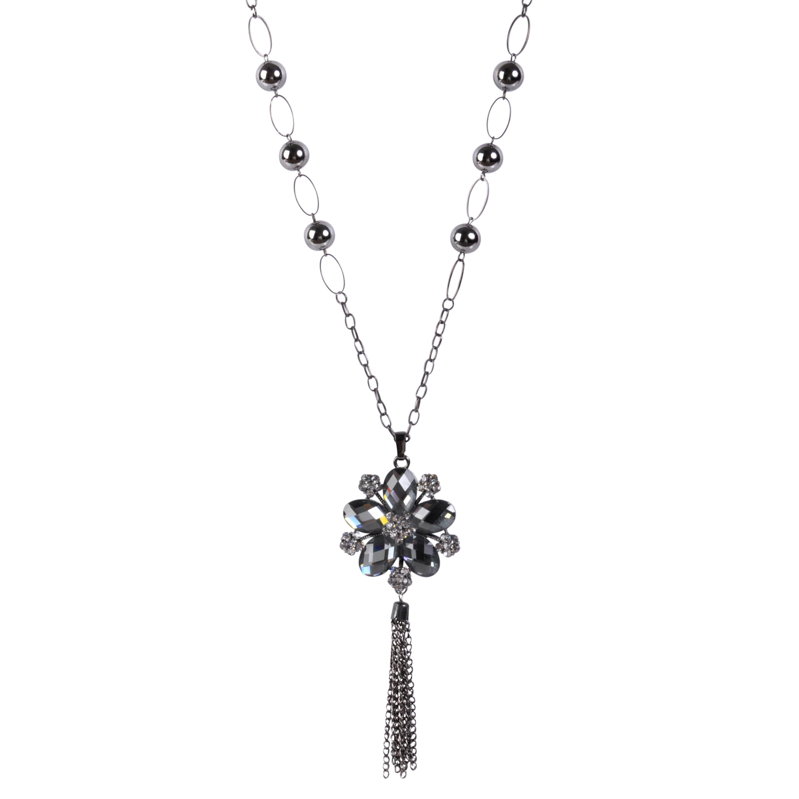 Journee Collection Rhodium-plated Base Glass Stone Flower Necklace