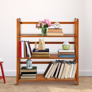"3-Shelf Folding Stackable Bookcase 35"" Wide (Option: Honey Oak)"