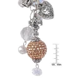 Journee Collection Silvertone Glass Stone Heart Crown Charm Necklace - Thumbnail 2