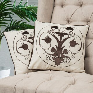 Black Embroidered Pillows (Set of 2) by Christopher Knight Home