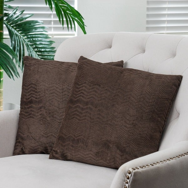 Shop Dark Brown Jacquard Pillows (Set Of 2) By Christopher