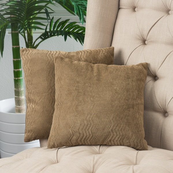 Brown Jacquard Pillows (Set of 2) by Christopher Knight Home