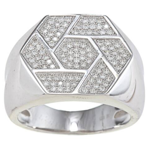 La Preciosa Sterling Silver Men's Cubic Zirconia Geometric Ring
