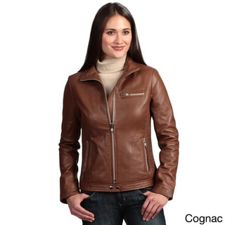 Collezione Women's 'Italia' Leather Motorcycle Jacket