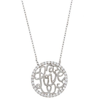 La Preciosa Sterling Silver Cubic Zirconia 'Love' Circle Necklace