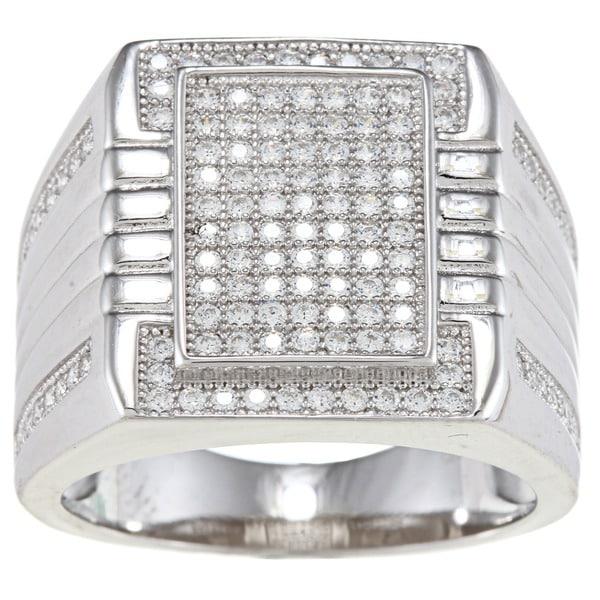 La Preciosa Sterling Silver Men's Cubic Zirconia Square Ring