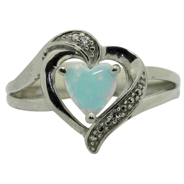 Gioelli Sterling Silver Created Opal and CZ Heart Ring (Size 7)