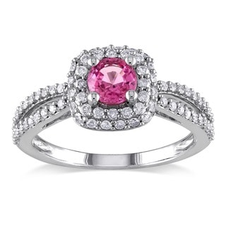 Miadora 14k White Gold Pink Sapphire and 1ct TDW Diamond Engagement Ring (G-H, I1-I2)