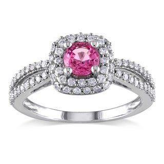 Miadora 14k White Gold Pink Sapphire and 1ct TDW Diamond Engagement Ring (G-H, I1-I2)