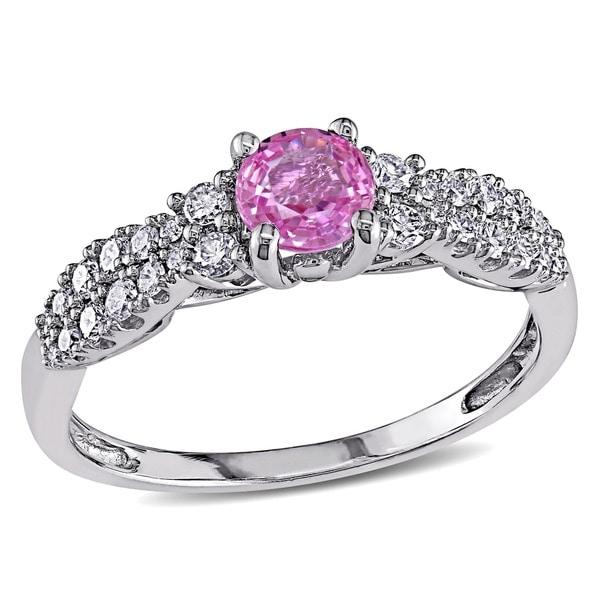 Miadora 14k White Gold Pink Sapphire and 1/3ct TDW Diamond Engagement Ring (G-H, I1-I2)