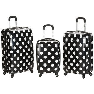 Rockland Designer Black Dot 3-piece Lightweight Hardside Spinner Luggage Set
