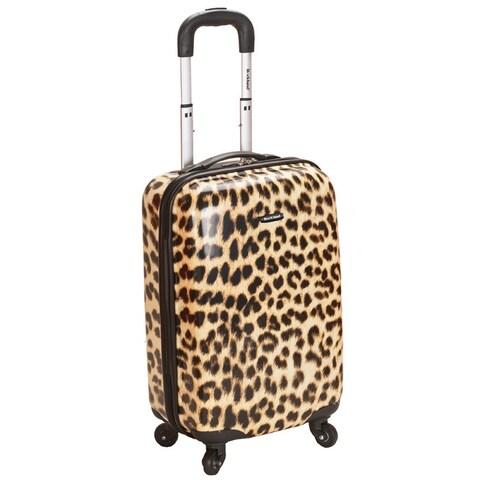 Rockland Designer Leopard 20-inch Lightweight Hardside Carry On Spinner Upright Suitcase