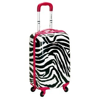 Rockland Designer Pink Zebra 20-inch Lightweight Hardside Spinner Carry-On Upright Suitcase