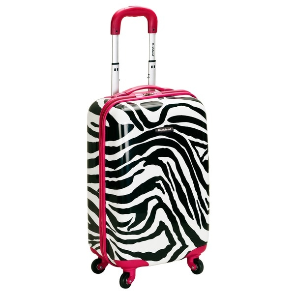 Rockland Designer Pink Zebra 20-inch Lightweight Hardside Spinner Carry-On Upright Suitcase