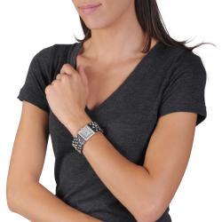 Geneva Platinum Women's Simulated Leather Rhinestone Studded Watch - Thumbnail 2