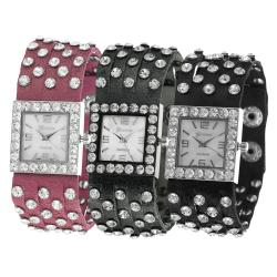 Geneva Platinum Women's Simulated Leather Rhinestone Studded Watch