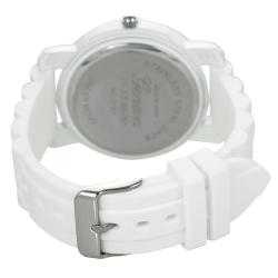 Geneva Platinum Women's Rhinestone-Accented White Silicone Watch with Colored Dial