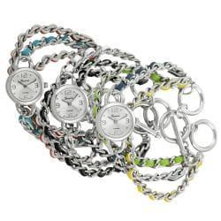 Geneva Platinum Women's Simulated Leather Weave Chain Wrap Watch