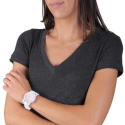 Geneva Platinum Neon Women's Rhinestone-Accented Silicone Watch - Thumbnail 2