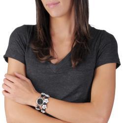 Geneva Platinum Women's Rhinestone-accented Flower Wrap-around Watch