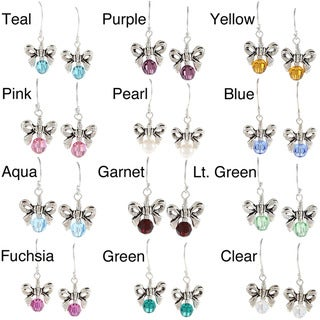 Lola's Jewelry Sterling Silver Crystal or Pearl Birthstone Bow Earrings