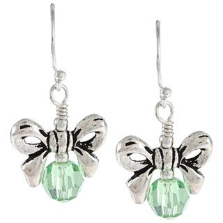 Charming Life Sterling Silver Crystal or Pearl Birthstone Bow Earrings