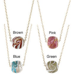 Lola's Jewelry 14k Goldfill Round Ceramic Swirl Bead Necklace