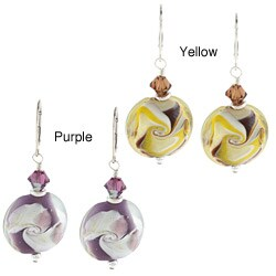 Lola's Jewelry Sterling Silver Swirl Art Glass and Crystal Earrings