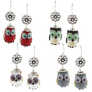 Charming Life Sterling Silver Owl Lampwork Earrings