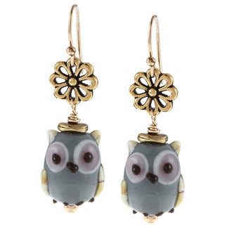 Charming Life 14k Goldfill Owl Lampwork Glass Bead Hook Earrings