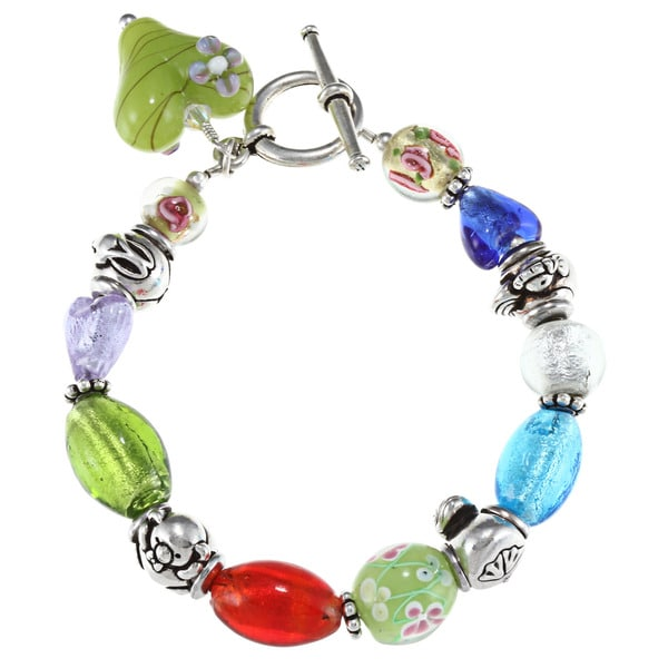 Charming Life Silvertone Multi-colored Glass Bead Animal Bracelet