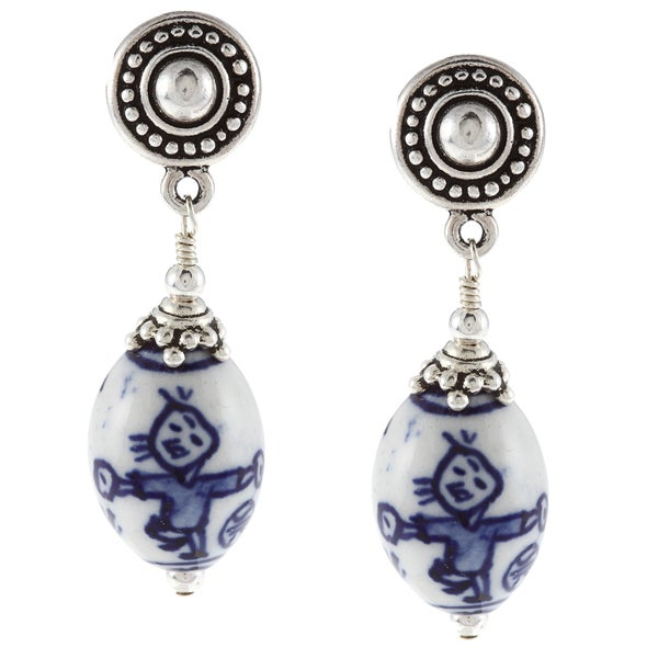 Lola's Jewelry Pewter Hand-painted Chinese Porcelain Earrings
