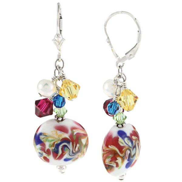 Lola's Jewelry Sterling Silver Multicolor Crystal, Glass and Crystal Cluster Earrings