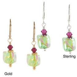 Charming Life Sterling Silver or 14k Goldfill Green Cube Glass Earrings