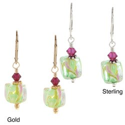 Lola's Jewelry Sterling Silver or 14k Goldfill Green Cube Glass Earrings