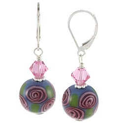 Lola's Jewelry Sterling Silver Rose Design Glass and Crystal Earrings