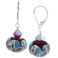 Charming Life Sterling Silver Multi-colored Glass and Crystal Earrings