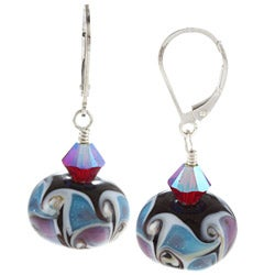 Lola's Jewelry Sterling Silver Multi-colored Glass and Crystal Earrings