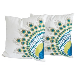 Embroidered Peacock Tail Pillows (Set of 2) by Christopher Knight Home