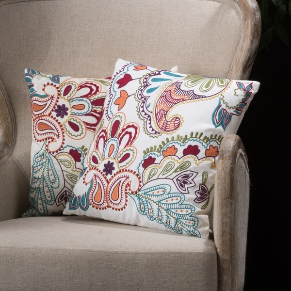 Embroidered Paillette Linen Blend Pillows (Set of 2) by Christopher Knight Home