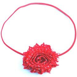 Itty Bitty Red Polka-dot Shabby Flower Headband
