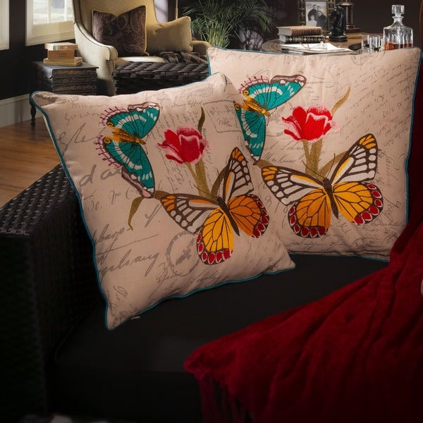 Embroidered Butterfly Pillows (Set of 2) by Christopher Knight Home