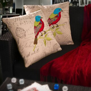 Embroidered Bird Pillows (Set of 2) by Christopher Knight Home