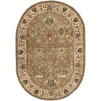 Safavieh Handmade Persian Legend Light Green/ Beige Wool Rug (5' x 8' Oval)